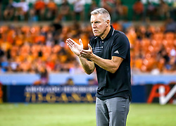 August 4, 2018 - Houston, TX, U.S. - HOUSTON, TX - AUGUST 04:  Sporting Kansas City head coach Peter Vermes praises his players during the soccer match between Sporting Kansas City and Houston Dynamo on August 4, 2018 at BBVA Compass Stadium in Houston, Texas.  (Photo by Leslie Plaza Johnson/Icon Sportswire) (Credit Image: © Leslie Plaza Johnson/Icon SMI via ZUMA Press)