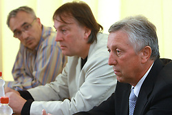 Lado Gorjan,  and Uros Slavinec, general manager of Helios and president of the club at press conference of KK Helios Domzale before new season 2008/2009 in NLB league and Slovenian National Championship,  on September 18, 2008 in Hotel Ambient, Domzale, Slovenia. (Photo by Vid Ponikvar / Sportal Images)