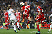Franck Ribery , Thomas Muller (Bayern Munich ) and Luka Modric (Real Madrid) during the UEFA Champions League, semi final, 2nd leg football match between Real Madrid and Bayern Munich on May 1, 2018 at Santiago Bernabeu stadium in Madrid, Spain - Photo Laurent Lairys / ProSportsImages / DPPI