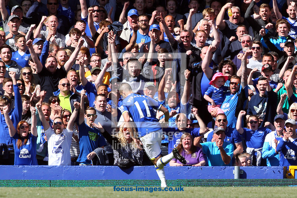 Kevin Mirallas of Everton celebrates scoring his sides 3rd goal during the Barclays Premier League match at Goodison Park, Liverpool<br /> Picture by Paul Chesterton/Focus Images Ltd +44 7904 640267<br /> 15/05/2016