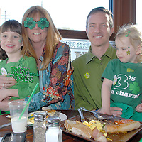 Renowned Chef, Author and Owner of Finn McCool's Geraldine Gilliland, eat a traditional Irish breakfast Santa Monica Councilmember Terry O'Day with his daughters Teagan, 5, and Taryn, 3, eat a traditional Irish breakfast at Finn McCool's during St. Patrick's Day March 17, 2010.