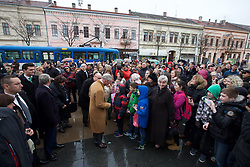 15.03.2016, Osijek, CRO, der Britische Kronprinz Charles und seine Frau Camilla besuchen Kroatien, im Bild Prince of Wales and the Duchess of Cornwall visited Osijek. The visit began at St. Holy Trinity Square at Tvrdja, and continued in the Archaeological Museum. In front ofd the Co-Cathedral Prince Charles and the Duchess of Cornwall were welcomed by a multitude of people from Osijek. EXPA Pictures © 2016, PhotoCredit: EXPA/ Pixsell/ Vlado Kos/Cropix/POOL<br /> <br /> *****ATTENTION - for AUT, SLO, SUI, SWE, ITA, FRA only*****