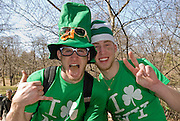 Portrait of revelers at the St. Patrick's Day Parade on Fifth Avenue, New York City.