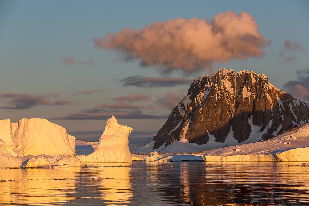 Sunset, Pleneau Bay, Antarctic Peninsula, Antarctica 2014