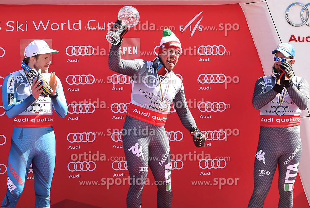 15.03.2017, Aspen, USA, FIS Weltcup Ski Alpin, Finale 2017, Abfahrt, Herren, Siegerehrung, im Bild v.l. Kjetil Jansrud (NOR, 2. Platz Abfahrts-Weltcup), Peter Fill (ITA, 2. Platz und Abfahrts-Weltcupsieger), Dominik Paris (ITA, 1. Platz und 3. Platz Abfahrts-Weltcup) // f.l. Downhill World Cup second placed Kjetil Jansrud of Norway, second placed and Downhill World Cup winner Peter Fill of Italy, race winner and Downhill World Cup third placed Dominik Paris of Italy during the winner award ceremony for the men's downhill of 2017 FIS ski alpine world cup finals. Aspen, United Staates on 2017/03/15. EXPA Pictures © 2017, PhotoCredit: EXPA/ Spiess