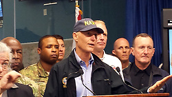 October 7, 2016 - Tallahassee, Florida, U.S. - Florida Gov. RICK SCOTT holds a press conference on Friday in Tallahassee. Matthew lashes Florida with 100 MPH Winds, 1 Dead as 600,000 without power. (Credit Image: © Gray Rohrer/TNS via ZUMA Wire)