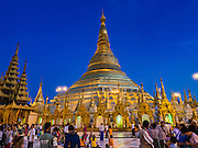 31 OCTOBER 2015 - YANGON, MYANMAR: Shwedagon Pagoda at night. Shwedagon Pagoda is officially known as Shwedagon Zedi Daw and is also called the Great Dagon Pagoda or the Golden Pagoda. It is a 99 metres (325 ft) tall pagoda and stupa located in Yangon, Burma. The pagoda lies to the west of on Singuttara Hill, and dominates the skyline of the city. It is the most sacred Buddhist pagoda in Myanmar and contains relics of four past Buddhas: the staff of Kakusandha, the water filter of Koṇāgamana, a piece of the robe of Kassapa and eight strands of hair from Gautama, the historical Buddha. The pagoda was built between the 6th and 10th centuries by the Mon people, who used to dominate the area around what is now Yangon (Rangoon). The pagoda has been renovated numerous times through the centuries. Millions of Burmese and tens of thousands of tourists visit the pagoda every year, which is the most visited site in Yangon.      PHOTO BY JACK KURTZ