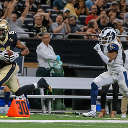 Aug 30, 2018; New Orleans, LA, USA; New Orleans Saints wide receiver Cameron Meredith (81) catches a pass over Los Angeles Rams cornerback Taurean Nixon (31) during the first half of a preseason game at the Mercedes-Benz Superdome. Mandatory Credit: Derick E. Hingle-USA TODAY Sports