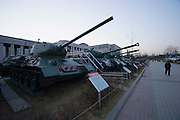 Samgakji. War Memorial and Museum. North Korean T-34 and other tanks from the Korean war.