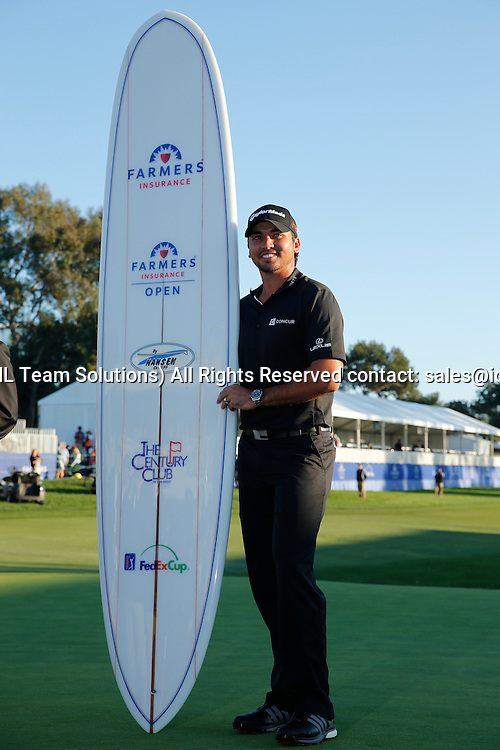 February 8, 2015: Jason Day with a surfboard after the final round of the Farmers Insurance Open at Torrey Pines in La Jolla, CA.