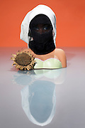 fashionable girl doll with face covering
