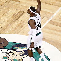 01 June 2012: Boston Celtics small forward Paul Pierce (34) celebrates during the first half of Game 3 of the Eastern Conference Finals playoff series, Heat vs Celtics, at the TD Banknorth Garden, Boston, Massachusetts, USA.