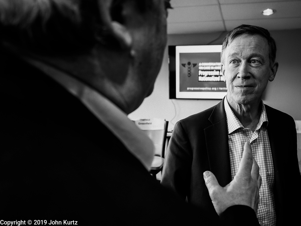 12 APRIL 2019 - DES MOINES, IOWA:  Gov. Hickenlooper met with voters in Des Moines to talk about healthcare Friday. He is one of the Democrats campaigning in Iowa this weekend to be the party's nominee for the US Presidency. Iowa traditionally hosts the the first election event of the presidential election cycle. The Iowa Caucuses will be on Feb. 3, 2020.      PHOTO BY JACK KURTZ