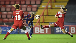 FC Barcelona's Marta Corredera keeps the pressure on Bristol Academy - Photo mandatory by-line: Paul Knight/JMP - Mobile: 07966 386802 - 13/11/2014 - SPORT - Football - Bristol - Ashton Gate Stadium - Bristol Academy v FC Barcelona - UEFA Women's Champions League