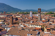 View from Torre Guinigi tower showing L to R Palazzo Ducale, Chiesa di San Cristoforo, Chiesa di San Michele, Torre Del Ore, Lucca, Italy RESERVED USE - NOT FOR DOWNLOAD - FOR USE CONTACT TIM GRAHAM