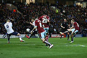 Scott Arfield of Burnley tries a shot during the Sky Bet Championship match between Preston North End and Burnley at Deepdale, Preston, England on 22 April 2016. Photo by Simon Brady.