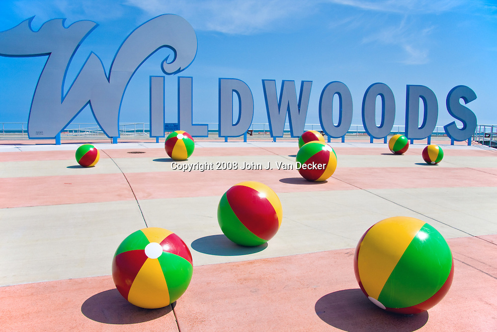 Wildwoods welcome sign at the boardwalk / beach, Wildwood, New Jersey.....The Wildwoods are comprised of three municipalities: Wildwood, Wildwood Crest and North Wildwood. The Wildwoods are a popular vacation destination located on a barrier island just north of Cape May, New Jersey.