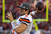 Cleveland Browns quarterback Baker Mayfield (6) warms up before an NFL football game against the San Francisco 49ers, Monday, Oct. 7, 2019, in Santa Clara, Calif. The 49ers defeated the Browns (Peter Klein/Image of Sport)