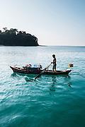 Moken 'sea gypsy' visits the Meta IV, Mergui Archipelago.