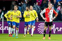 ROTTERDAM - Feyenoord - SC Cambuur , Voetbal , Seizoen 2015/2016 , Eredivisie , Feijenoord Stadion De Kuip , 06-03-2016 , Speler van Feyenoord Rick Karsdorp (r) baalt als Cambuur de gelijkmaker viert