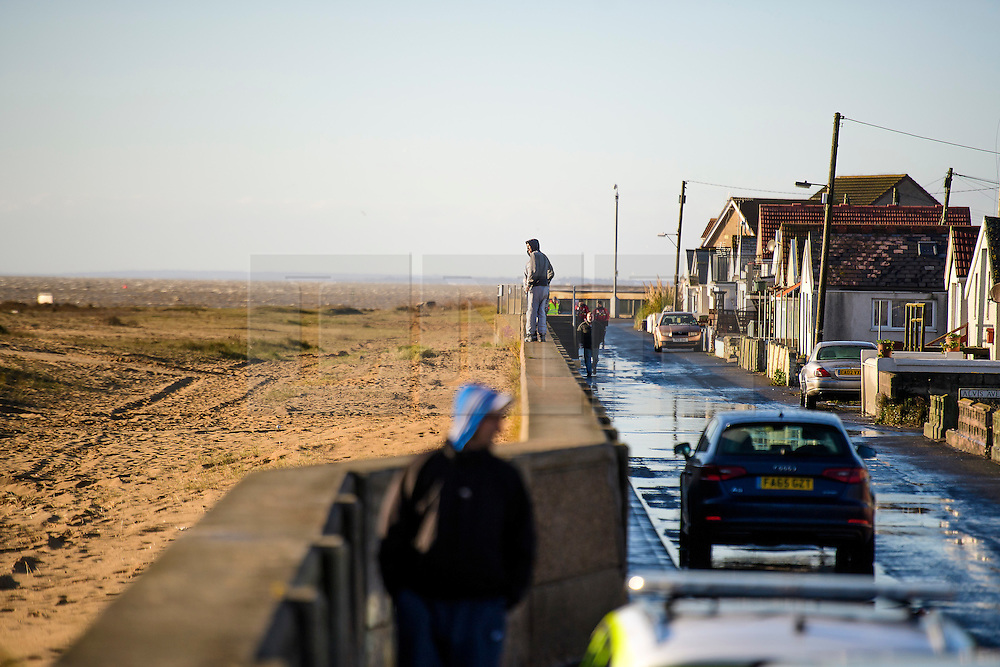 © Licensed to London News Pictures. 13/01/2017. Jaywick, UK. Flood defences seen at high tide on the seafront at Jaywick, Essex, where homes were expected to be evacuated due to the threat of flooding in low-lying areas . Photo credit: Ben Cawthra/LNP