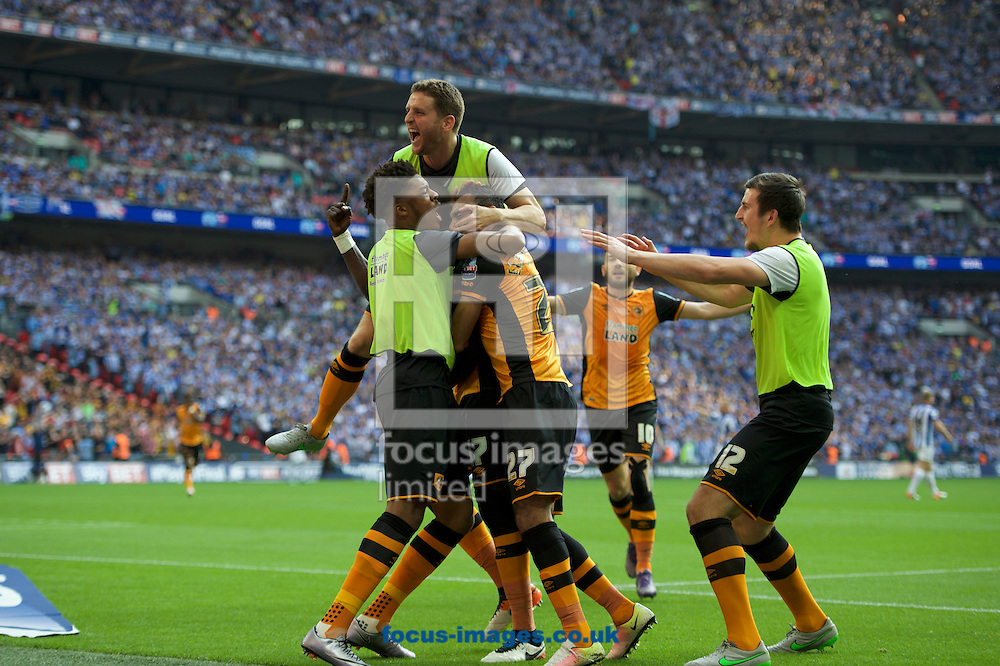 Mohamed Diame (17) of Hull City celebrates with his team mates after scoring the opening goal during the Sky Bet Championship Play-off Final at Wembley Stadium, London<br /> Picture by Alan Stanford/Focus Images Ltd +44 7915 056117<br /> 28/05/2016