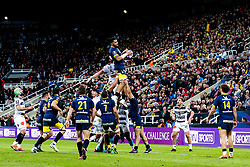 Arthur Iturria of ASM Clermont Auvergne wins the ball at a line out - Mandatory by-line: Robbie Stephenson/JMP - 10/05/2019 - RUGBY - St James' Park - Newcastle, England - ASM Clermont Auvergne v La Rochelle - European Rugby Challenge Cup Final
