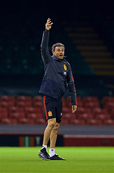 CARDIFF, WALES - Wednesday, October 10, 2018: Spain's head coach Luis Enrique during a training session at the Principality Stadium ahead of the International Friendly match between Wales and Spain. (Pic by David Rawcliffe/Propaganda)