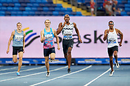 Poland, Chorzow - 2018 August 22: (L-R) Karol Zalewski (AZS AWF Katowice) from Poland and Steven Gardiner from Bahamas and Christian Taylor from USA compete in men's 400 meters final during Memorial of Kamila Skolimowska at Slaski Stadium on August 22, 2018 in Chorzow, Poland.<br /> <br /> Mandatory credit:<br /> Photo by © Adam Nurkiewicz<br /> <br /> Adam Nurkiewicz declares that he has no rights to the image of people at the photographs of his authorship.<br /> <br /> Picture also available in RAW (NEF) or TIFF format on special request.<br /> <br /> Any editorial, commercial or promotional use requires written permission from the author of image.