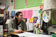Genesis Morales works on the computer during class at Bryan Adams High School on March 24, 2016 in Dallas, Texas. (Cooper Neill for The Texas Tribune)