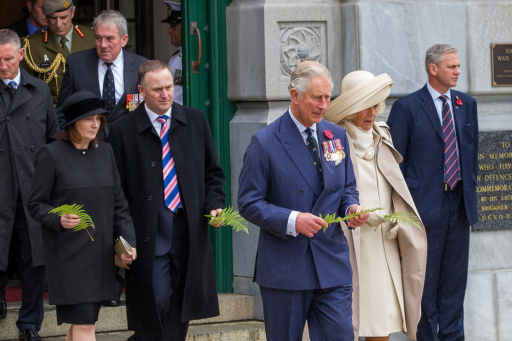 The Prince of Wales and The Duchess of Cornwall visit the National War Memorial, Wellington, New Zealand, and lay a fern on the Tomb of the Unknown Warrior on  Wednesday, November 04, 2015. Credit: SNPA / David Rowland