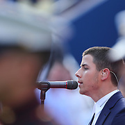 Nick Jonas sings God Bless America before the  Women's Singles Final during the US Open Tennis Tournament, Flushing, New York, USA. 7th September 2014. Photo Tim Clayton