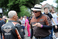From left,  Jim Huber, of Philadelphia, Pennsylvania and Greg Snook of Levittown, Pennsylvania chat during Livengrin Foundation's 12th Annual Ride for Recovery Annual Motorcycle Run and Family Picnic Sunday May 22, 2016 in Bensalem, Pennsylvania. (Photo by William Thomas Cain)