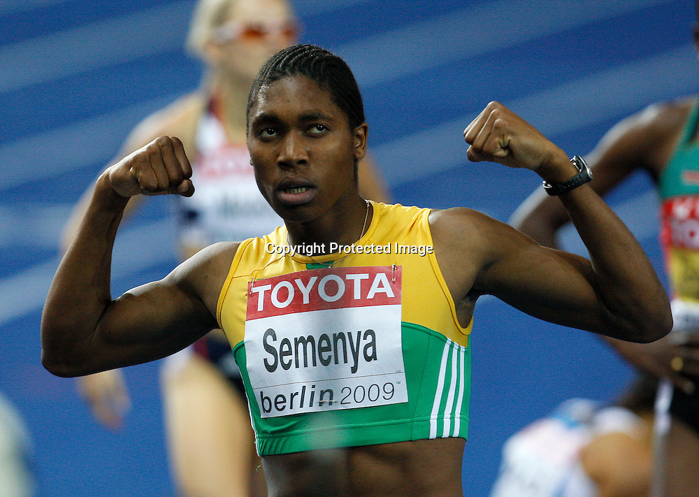 Caster Semenya of South Africa celebrates after she won in the women's 800 metres final during the 12th IAAF Athletic World Championships at the Olympic Stadium in Berlin, Germany, 19 August 2009. Photo: Piotr Hawalej / WROFOTO / PHOTOSPORT