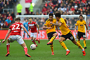 Raul Jimenez (9) of Wolverhampton Wanderers plays a pass during the The FA Cup 5th round match between Bristol City and Wolverhampton Wanderers at Ashton Gate, Bristol, England on 17 February 2019.