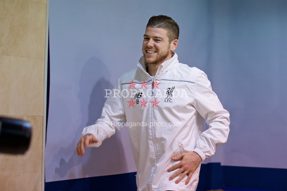 VILLRREAL, SPAIN - Wednesday, April 27, 2016: Liverpool's Alberto Moreno during a press conference ahead of the UEFA Europa League Semi-Final 1st Leg match against Villarreal CF at Estadio El Madrigal. (Pic by David Rawcliffe/Propaganda)