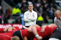 England Head Coach Stuart Lancaster watches the pre-match warm-up - Photo mandatory by-line: Patrick Khachfe/JMP - Mobile: 07966 386802 14/02/2015 - SPORT - RUGBY UNION - London - Twickenham Stadium - England v Italy - Six Nations Championship