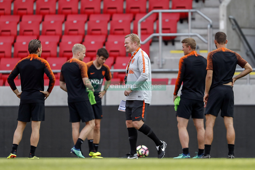 (L-R) Ruud Vormer of Holland, Donny van de Beek of Holland, Marten de Roon of Holland, coach Ronald Koeman of Holland, Matthijs de Ligt of Holland, Stefan de Vrij of Holland during a training session prior to the International friendly match between Slovakia and The Netherlands at Stadium Antona Malatinskeho on May 30, 2018 in Trnava, Slovakia