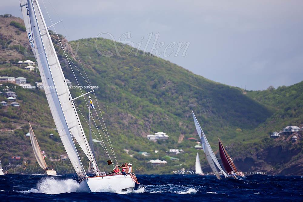 Spirited Lady of Fowey sailing in the 2010 Antigua Classic Yacht Regatta, Windward Race, day 4.