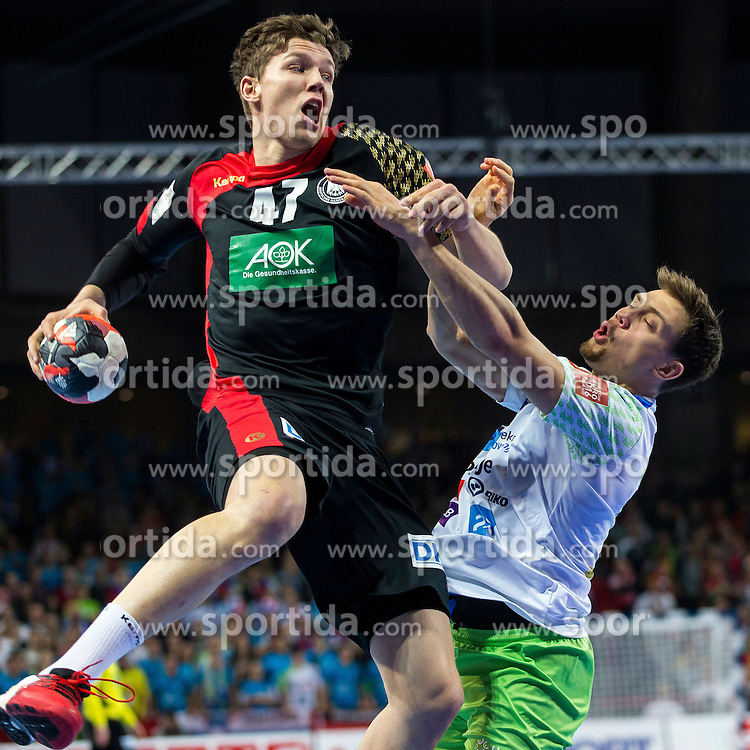 20.01.2016, Jahrhunderthalle, Breslau, POL, EHF Euro 2016, Deutschland vs Slowenien, Gruppe C, im Bild Christian Dissinger (Nr. 47, THW Kiel) gegen David Miklavcic (Nr. 18, Tremblay en France Handball) // during the 2016 EHF Euro group C match between Germany and Slovenia at the Jahrhunderthalle in Breslau, Poland on 2016/01/20. EXPA Pictures &copy; 2016, PhotoCredit: EXPA/ Eibner-Pressefoto/ <br /> <br /> *****ATTENTION - OUT of GER*****