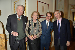 LONDON, ENGLAND 28 NOVEMBER 2016: Left to right, Sir Anthony Figgis, Lady Figgis, Wolf Burchard, Oliver Everett at a reception to celebrate the publication of The Sovereign Artist by Christopher Le Brun and Wolf Burchard held at the Royal Academy of Art, Piccadilly, London, England. 28 November 2016.