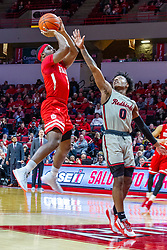 NORMAL, IL - February 26: Darrell Brown shoots over DJ Horne during a college basketball game between the ISU Redbirds and the Bradley Braves on February 26 2020 at Redbird Arena in Normal, IL. (Photo by Alan Look)