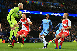 21st February 2017 - UEFA Champions League - Round of 16 (1st Leg) - Manchester City v AS Monaco - Man City goalkeeper Wilfredo Caballero catches the ball - Photo: Simon Stacpoole / Offside.
