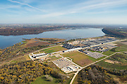 Aerial view of John Deere's Dubuque, Iowa manufacturing facility along the Mississippi River, with Wisconsin in the background, north of Dubuque, Iowa.