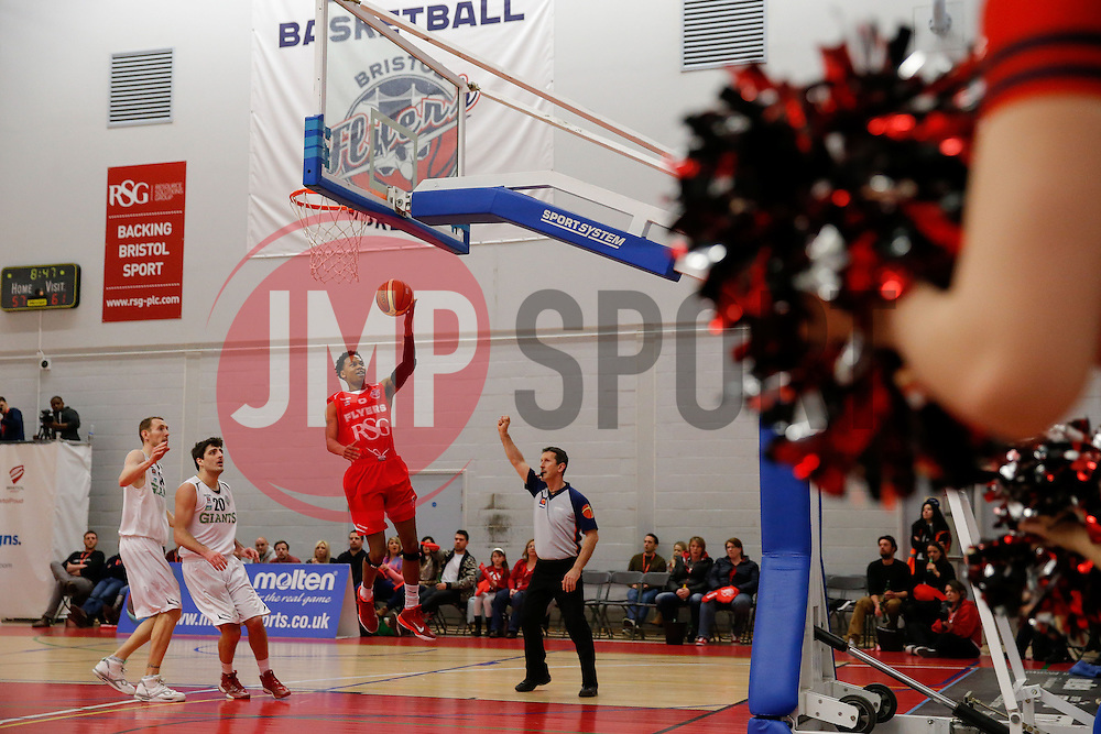 Bryquis Perine of Bristol Flyers in action - Photo mandatory by-line: Rogan Thomson/JMP - 07966 386802 - 07/02/2015 - SPORT - BASKETBALL - Bristol, England - SGS Wise Arena - Bristol Flyers v Manchester Giants - BBL Championship.