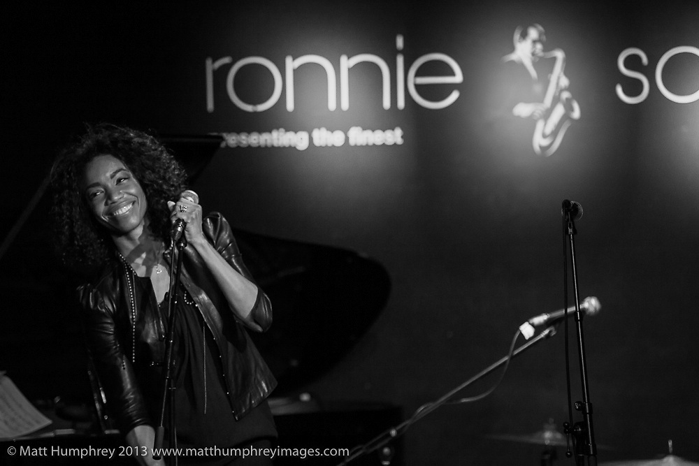 Heather Headley during performance for BBC Radio 2 pilot of 'Joe Stilgoe: One Night Stand' at Ronnie Scott's Jazz Club, London, February 2013. Mandatory credit for all image use online or printed. Copyright and credit to © Matt Humphrey. All rights reserved.