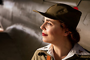 Living Historian as flight nurse with P-40E.