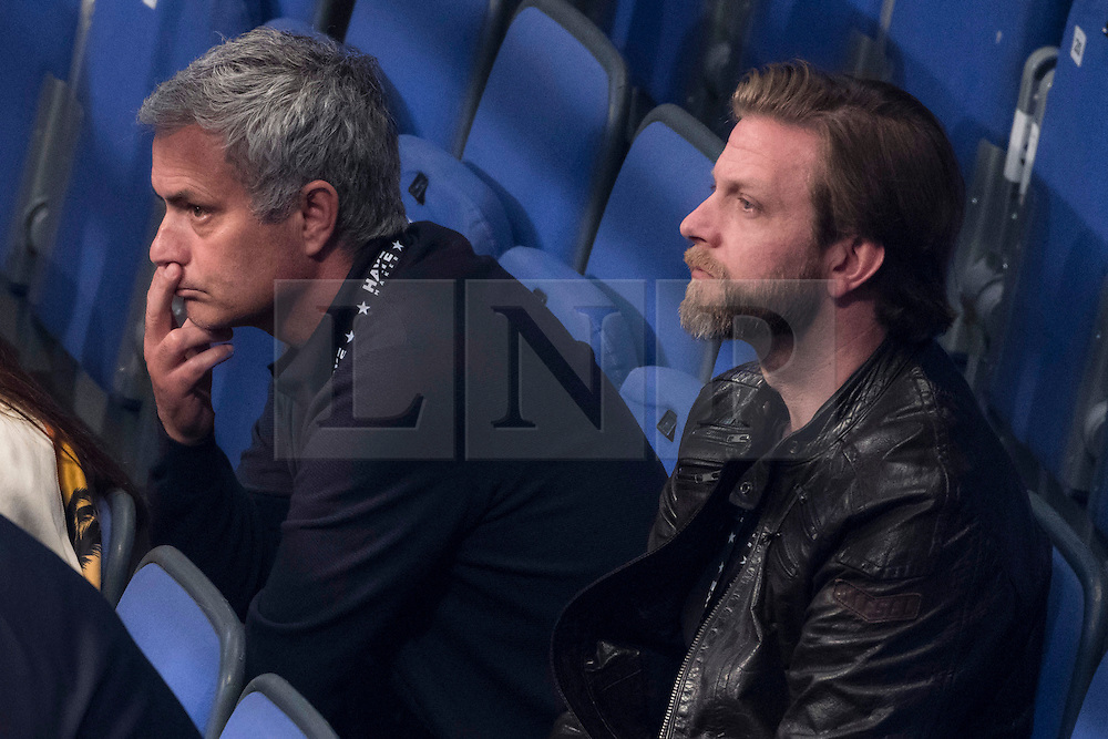 © Licensed to London News Pictures. 21/05/2016. Former Chelsea football manager Jose Mourhino watch from the front row fights before British heavyweight boxer David Haye makes his comeback against Kosovo-Albanian Arnold Gjergjaj at the O2 arena. London, UK. Photo credit: Ray Tang/LNP