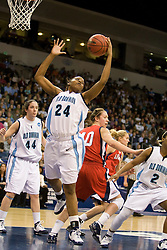 Old Dominion forward Jessica Canady (24) grabs a rebound.  The #5 seed Old Dominion Lady Monarchs defeated the #12 seed Liberty Flames 82-62 in the first round of the 2008 NCAA Division 1 Women's Basketball Championship in Norfolk, VA on March 23, 2008