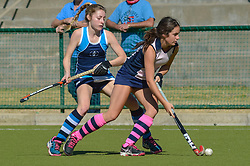 Clem Golding of Herschel(pink) and Olivia Buddle of Springfield during day two of the FNB Private Wealth Super 12 Hockey Tournament held at Oranje Meisieskool in Bloemfontein, South Africa on the 7th August 2016, <br /> <br /> Photo by:   Frikkie Kapp / Real Time Images